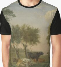 Cows in a Meadow near a Farm, Paulus Potter Graphic T-Shirt