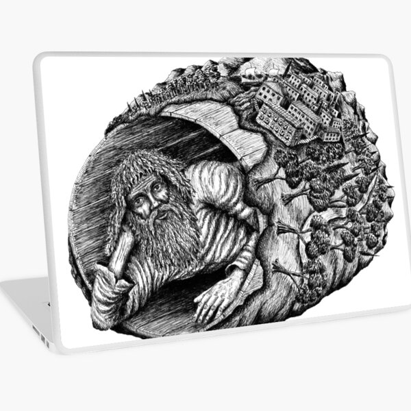 Diogenes surreal pen ink black and white drawing Laptop Skin