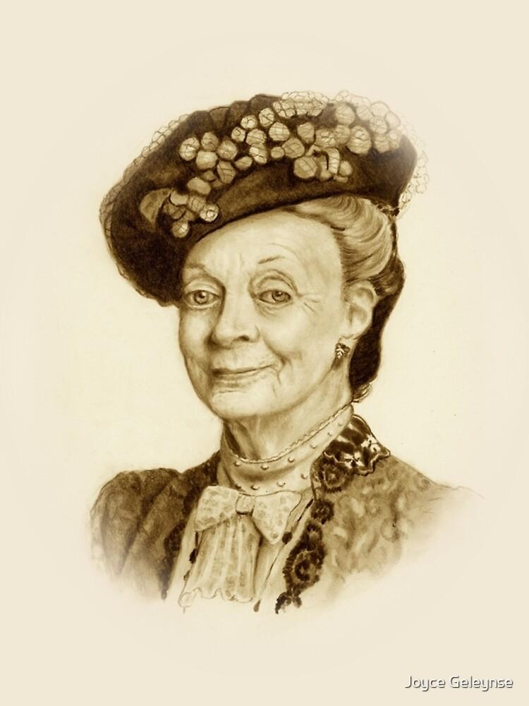 Downton Abbey, Maggie Smith Bleistift Porträt, Sepia, Witwe Gräfin von Joyce
