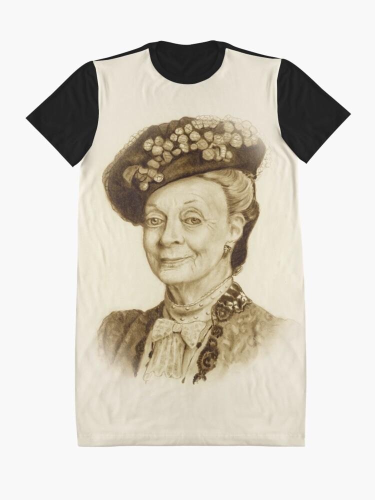 Alternative Ansicht von Downton Abbey, Maggie Smith Bleistift Porträt, Sepia, Witwe Gräfin T-Shirt Kleid