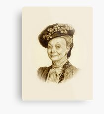 Downton Abbey, Maggie Smith Pencil Portrait, Sepia, Dowager Countess Metal Print