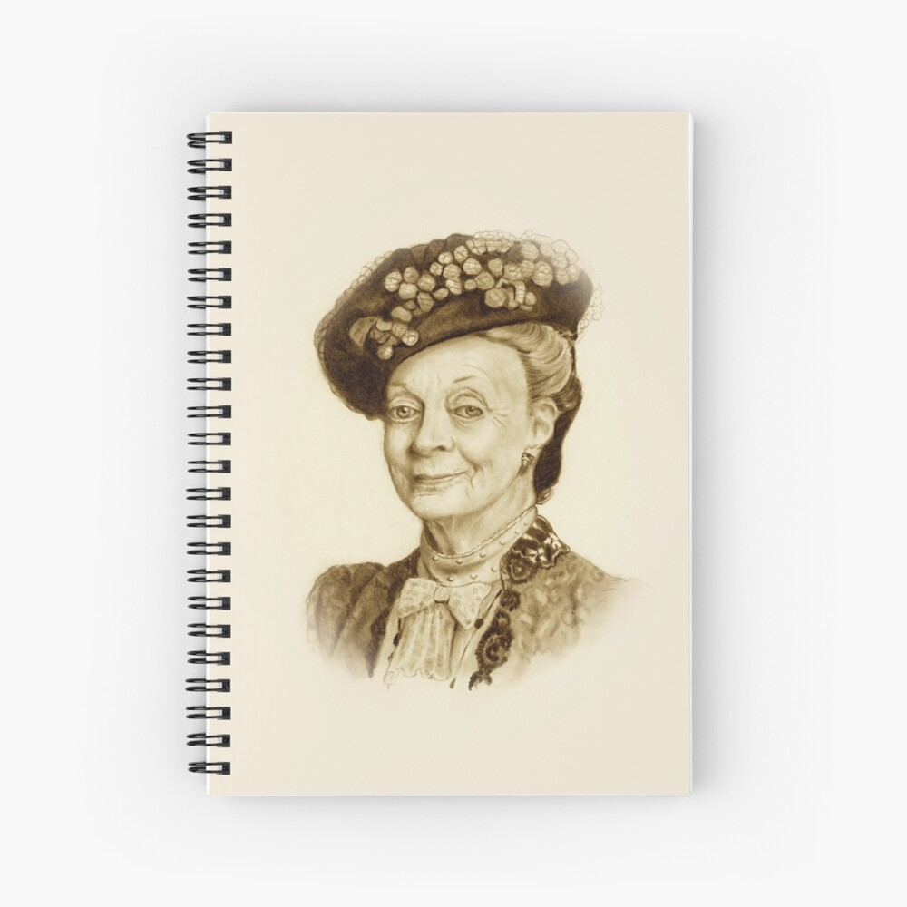 Downton Abbey, Maggie Smith Bleistift Porträt, Sepia, Witwe Gräfin Spiralblock