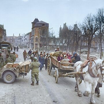 Refugees evacuating the Belgian town of Bastogne, 1944, colorized by SannaDullaway
