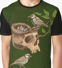 colorful illustration of birds making a nest in animal skull Graphic T-Shirt