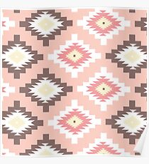 Tribal,native,pattern,boho,nature,peach,yellow,brown,white,red,modern,trendy Poster