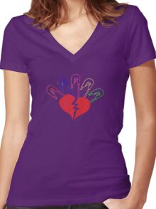 Broken Heart and Safety Pins - Vintage Women's Fitted V-Neck T-Shirt