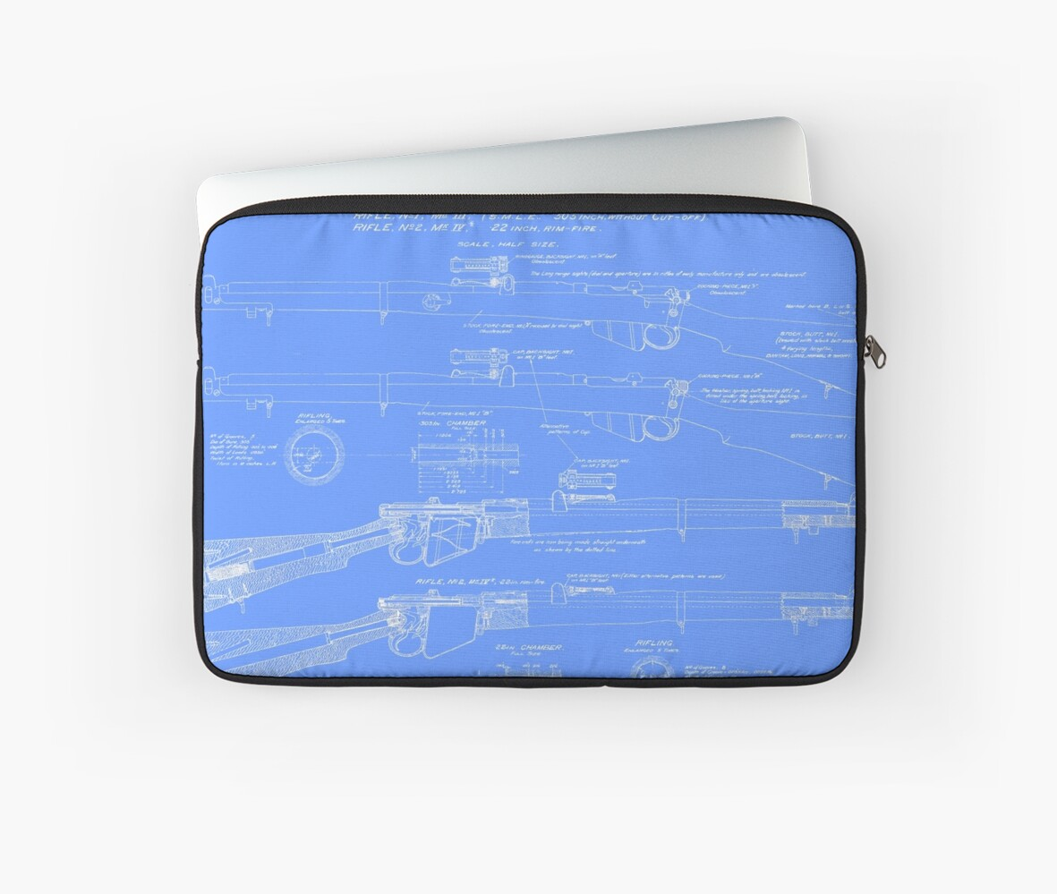 303 lee enfield rifle blueprint light blue laptop sleeves by 303 lee enfield rifle blueprint light blue by nemesisgear malvernweather Choice Image