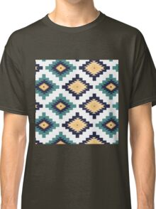 Tribal,native,pattern,boho,nature,teal,navy blue,white,yellow,orange,modern,trendy Classic T-Shirt