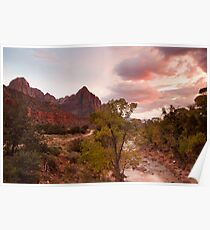 Sunset at the Watchman, Zion National Park Poster