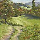 Autumn Walk, Surrey Hills in Pastel by Fiona Cross