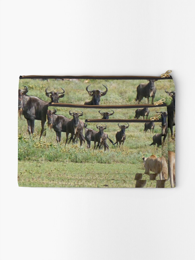 Alternate view of Wildebeast for lunch Zipper Pouch