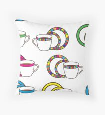 Nice pattern with colorful, mosaic  cup and plates on white background Throw Pillow