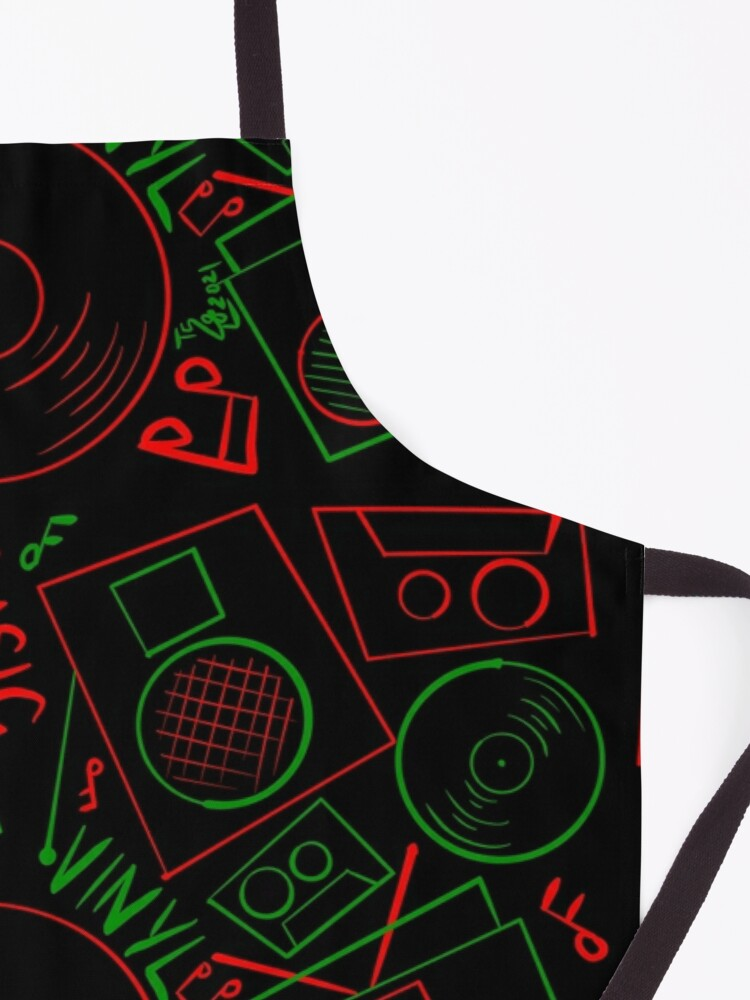 Alternate view of Red Green Music Hand Drawn Graffiti Hip Hop Christmas Pattern Apron