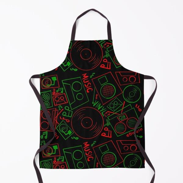 Red Green Music Hand Drawn Graffiti Hip Hop Christmas Pattern Apron