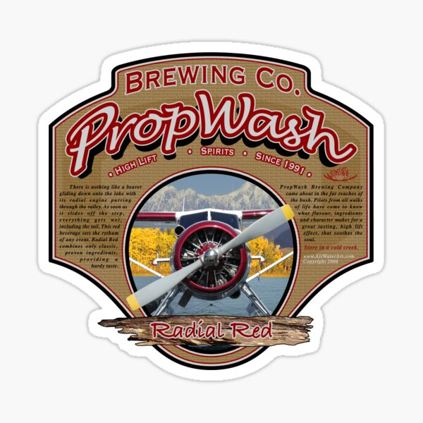 PropWash Brewing Co. - Radial Red DHC-2 Beaver Floatplane Sticker