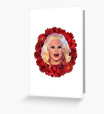 Satanic Katya Zamolodchikova With Flowers - Rupaul's Drag Race Greeting Card