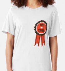 You Tried Participation Ribbon (Brown/Orange) Slim Fit T-Shirt