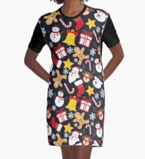 Cool Christmas Collage Graphic T-Shirt Dress