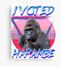 I VOTED HARAMBE Vintage T-shirt Canvas Print