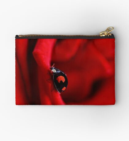Black ladybug in red rose Studio Pouch