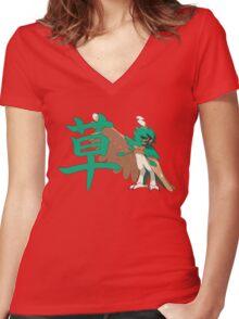 Decidueye With Grass Kanji Women's Fitted V-Neck T-Shirt