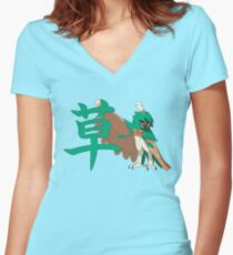 Decidueye With Grass Kanji Women's Fitted V-Neck T-Shirt