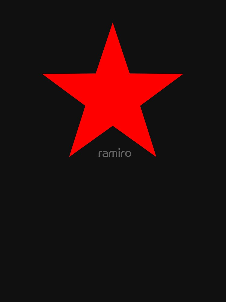 Five-pointed and Filled Red Star Design on Black/Dark by ramiro