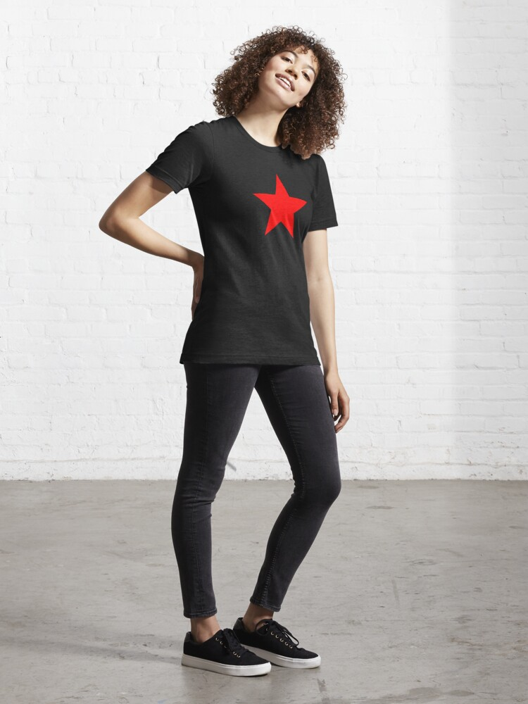 Alternate view of Five-pointed and Filled Red Star Design on Black/Dark Essential T-Shirt