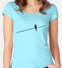 Vogel auf einem Draht Tailliertes Rundhals-Shirt
