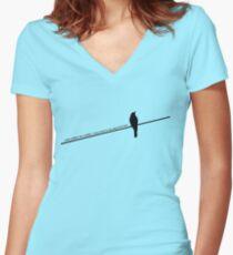 Vogel auf einem Draht Shirt mit V-Ausschnitt