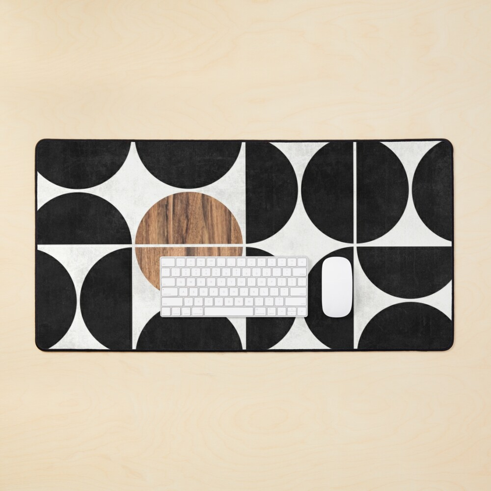 Mid-Century Modern Pattern No.1 - Concrete and Wood Mouse Pad