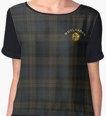 Outlander thistle symbol on Fraser tartan plaid Women's Chiffon Top
