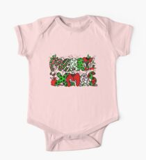 Merry Xmas Tangle in Red White and Green One Piece - Short Sleeve