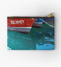 Reflection of red and blue Boats Studio Pouch