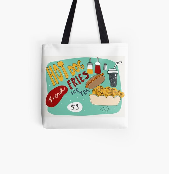 Hotdog with french fries and ice tea All Over Print Tote Bag
