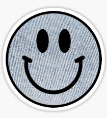 Denim Smiley Face Sticker