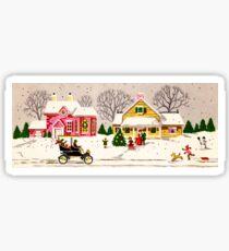 """Seasons Greetings Sunday Driver"" - Vintage Christmas Card, Time, Winter, Scene, Retro, Dog, Kids, Couple, Man, Woman, Snow, Wonderland, Snowy, Pink, Yellow, Tree, Old, Car, Model T Sticker"