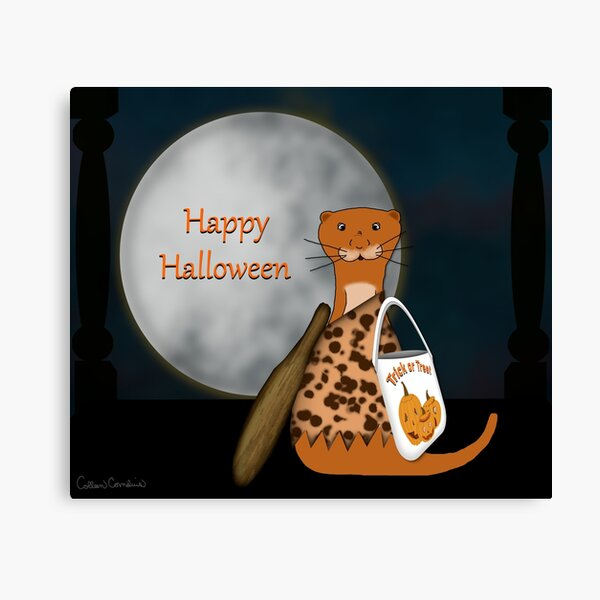 Oliver The Otter Posing In His Halloween Costume Canvas Print