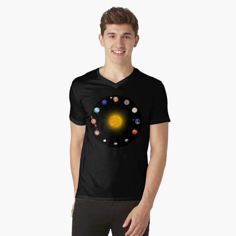 Space Pattern V-Neck T-Shirt