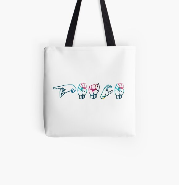 """Peace"" in ASL colourful All Over Print Tote Bag"