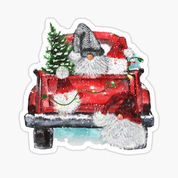 Merry Christmas Gnomes Xmas Tree Truck Sticker