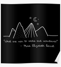 Póster Orgullo y prejuicio Jane Austen Mountain Quote