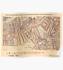 Booth's Map of London Poverty for Clapham Town ward, Wandsworth Poster