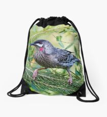 Red Wattle Bird 2 Drawstring Bag