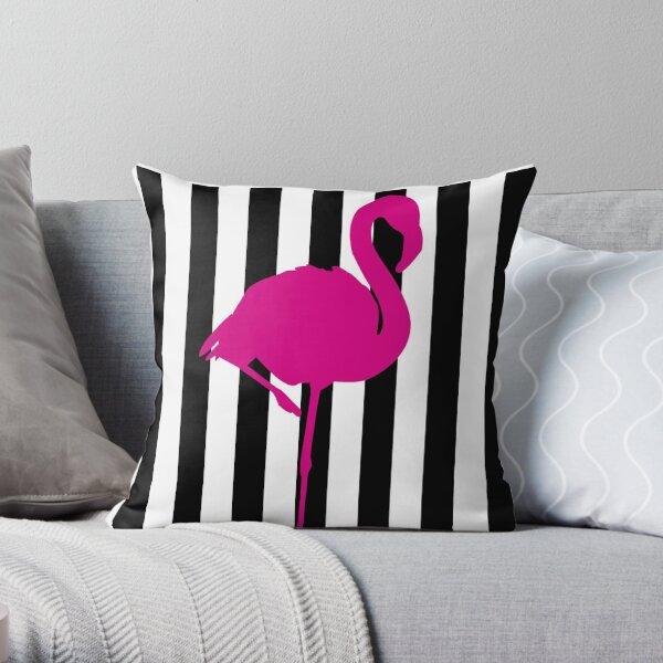 Hot Pink Flamingo on Black and White Stripe Throw Pillow