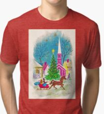 """""""Retro Romance"""" - Vintage Christmas Card, Sleigh, Ride, Love, Horse, Carriage, Couple, Winter, Wonderland, Tree, Lights, Pink, Blue, Yellow, Green, Red Tri-blend T-Shirt"""