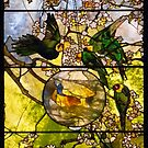 parakeets and goldfish bowl . by Lee d'Entremont