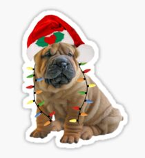 Chinese Sharpei Christmas Lights Sticker