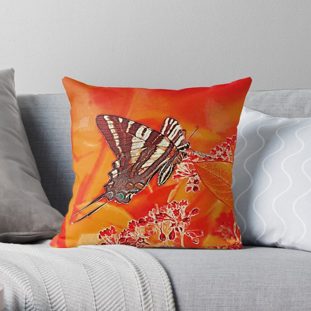 Orange Digital Zebra Swallowtail Throw Pillow