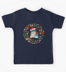 Christmas Totoro in Lighter Grey - Holiday, Xmas, Presents, Peppermint, Candy Cane, Mistletoe, Snowflake, Poinsettia, Anime, Catbus, Soot Sprite, Blue, White, Manga, Hayao Miyazaki, Studio Ghibl Kids Clothes